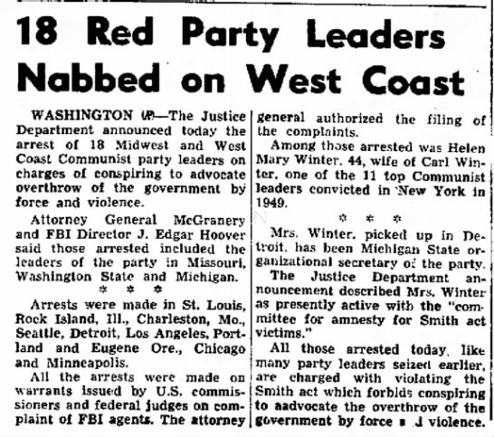18 Red Party leaders nabbed Portsmouth (NH) Herald Sept. 17, 1952 -