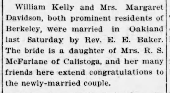 Robina's daughter Margaret McFarlane Davidson marries Wilm Kelly -