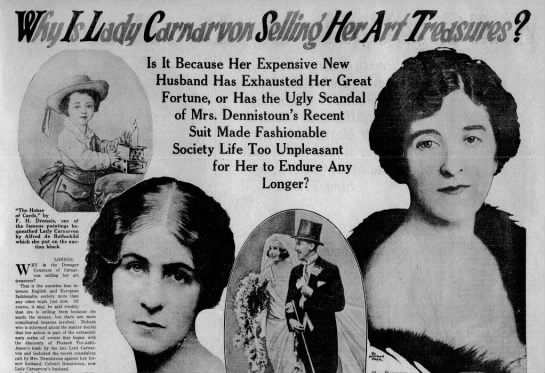 Lady Carnarvon becomes the subject of speculation following the Dennistoun Case -