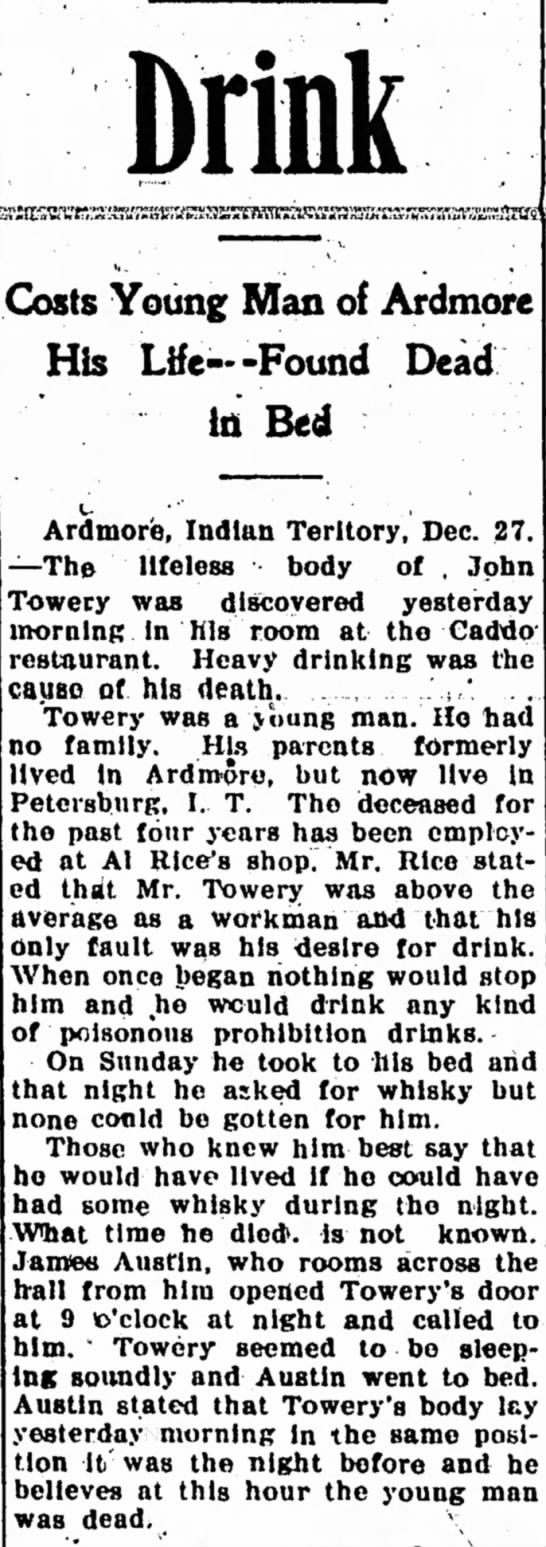 John Towery Ardmore OK death december 1905 drink -