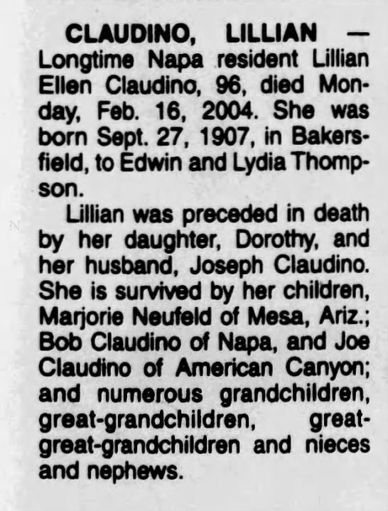 Obituary for Lillian Ellen CLAUDINO, 1907-2004 (Aged 96) -