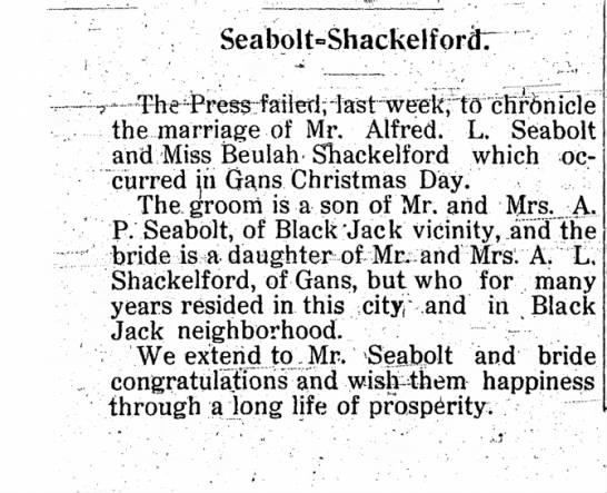 Seabolt-Shackelford Marriage   Beulah, daughter of A.L. Shackelford
