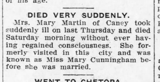 Mary Cunningham Martin Death 1911 - Caney, Kansas -