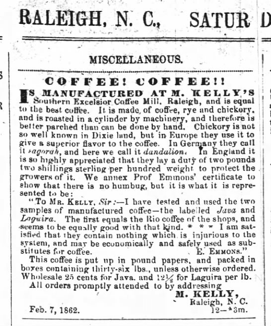 Emmons 24 May 1862 Semi-Weekly Standard (Raleigh, NC) p.1. -