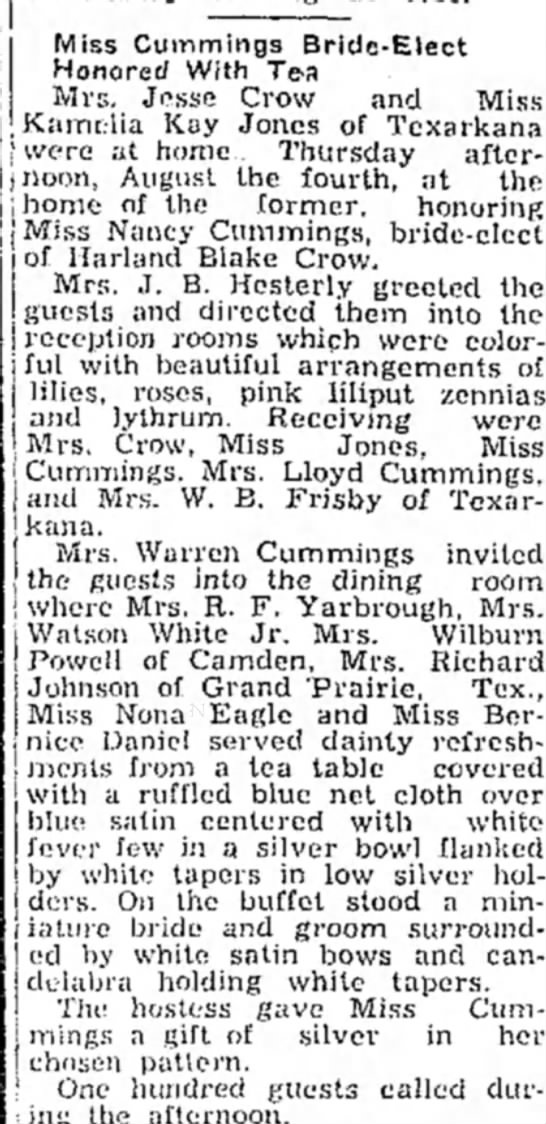 Bridal tea for the soon to be wife of Harland Blake Crow. - Miss Cummings Bride-Elect Honored With Tea Mrs....