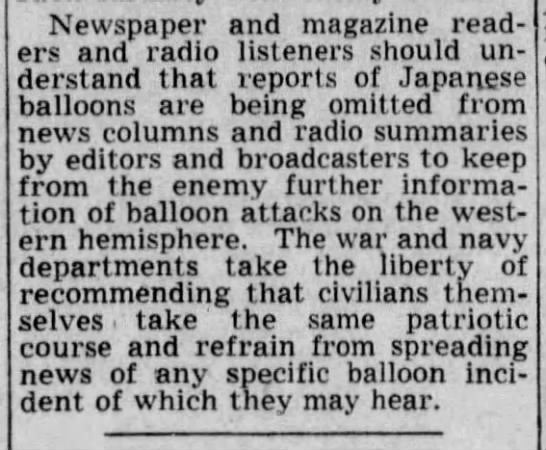 Spokesman-Review advocates limited news of Japanese bomb balloons for national security purposes -