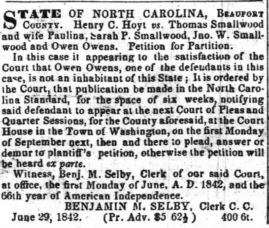 The Weekly Standard (Raleigh, NC), 6 Jul 1842 -