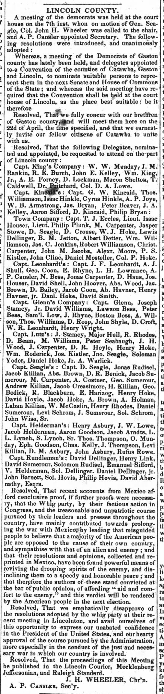 Goodson - The Weekly Standard (Raleigh, NC) 29 Mar 1848 - Reference Goodson - Lincoln County -