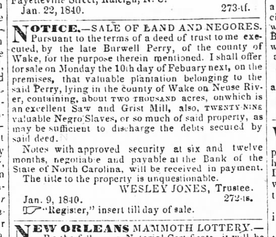 Burwell Perry Land 1840 -