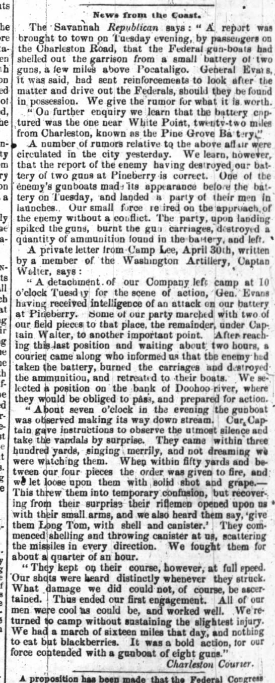 News from the Coast, Wilmington Journal (Wilmington, North Carolina), May 8, 1862, page 4 -