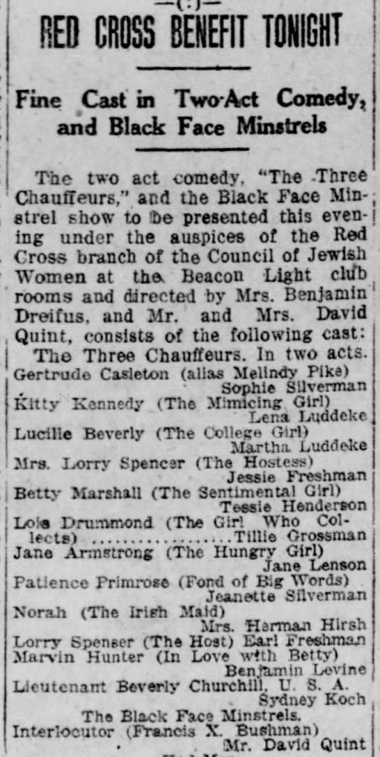 Red Cross Benefit-Jane-2 December 1918 -