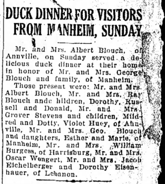 Mrs. Jacob Eichelberger - Duck Dinner for Visitors fromManheim, Sunday LDN 4 Jan 1927 -