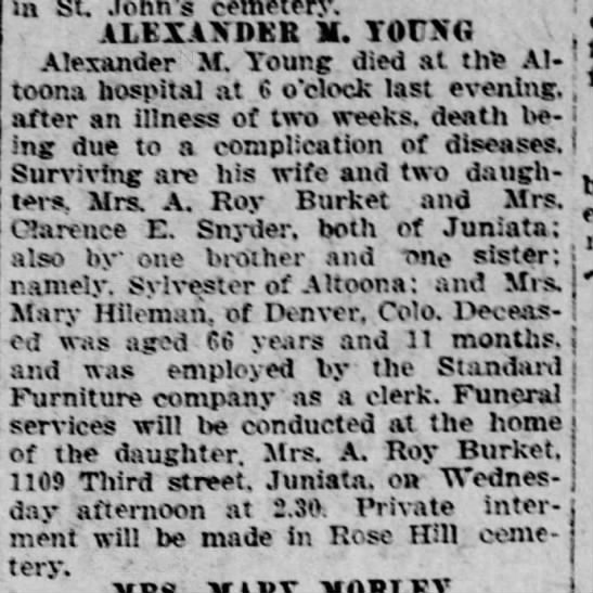 Alexander M. Young obituary, 17 May 1920, p.3 -