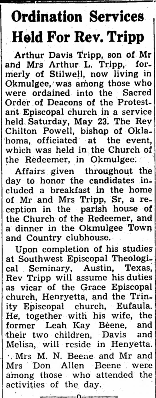 Arthur Tripp Ordination to Deaconate Stilwell Dem-Journal 4 Jun 1959 p 10 -