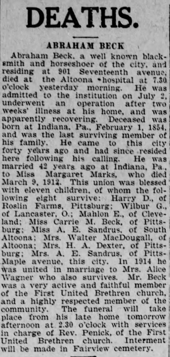 Abraham Beck Death Notice- Altoona Tribune 13 July 1922 -