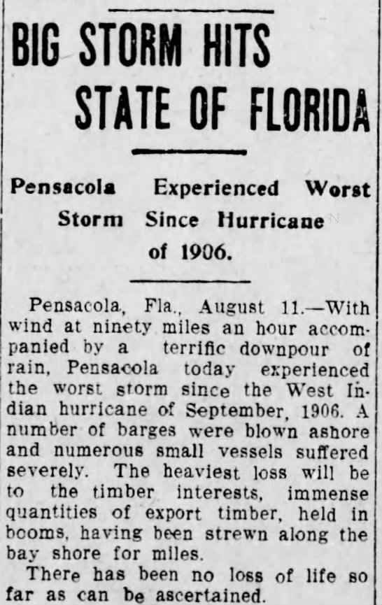 Details of a hurricane in Pensacola in 1916. -