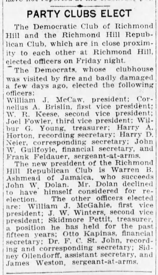 Pettit, Skidmore Rep Treasurer 1917 - PARTY CLUBS ELECT The Democratic Club of...