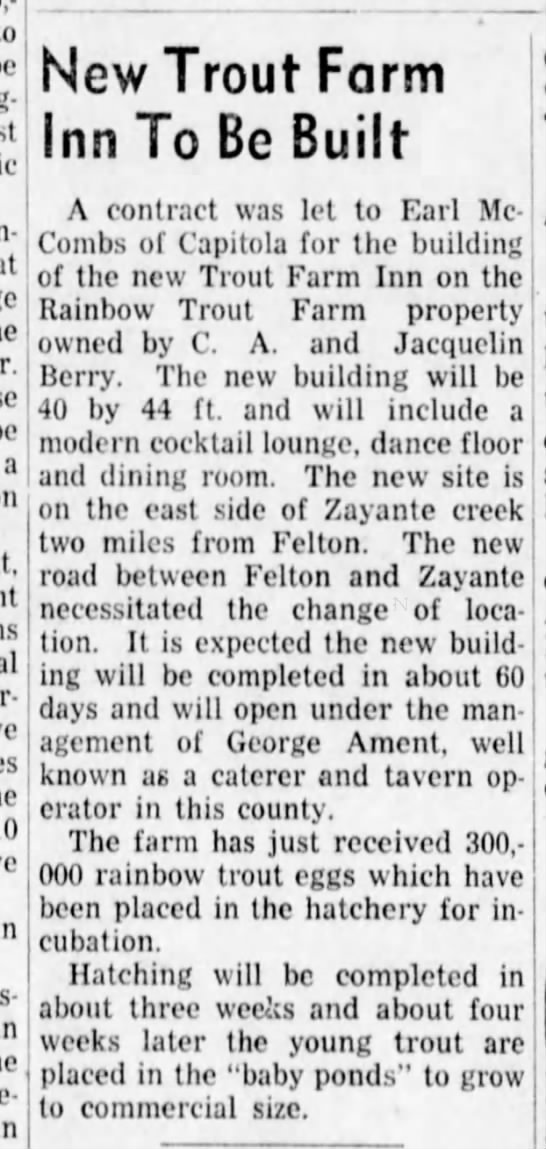 New Trout Farm Inn to be Built 6 Feb 1942 -
