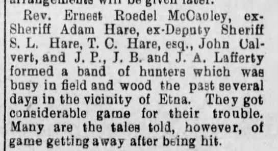 Hares Hunting - Rev. Ernest Roedel McCaoley, ex-Sheriff Adam...
