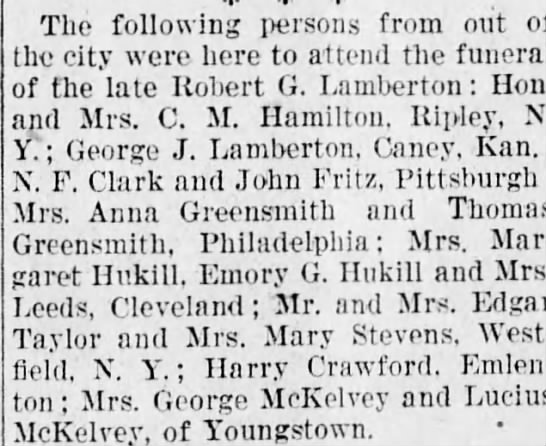 Robert G Lamberton Funeral Attendees -