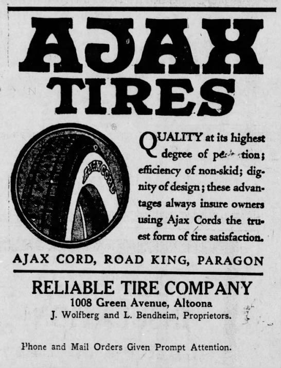 Reliable Tire Company ad-2 June 1923 -