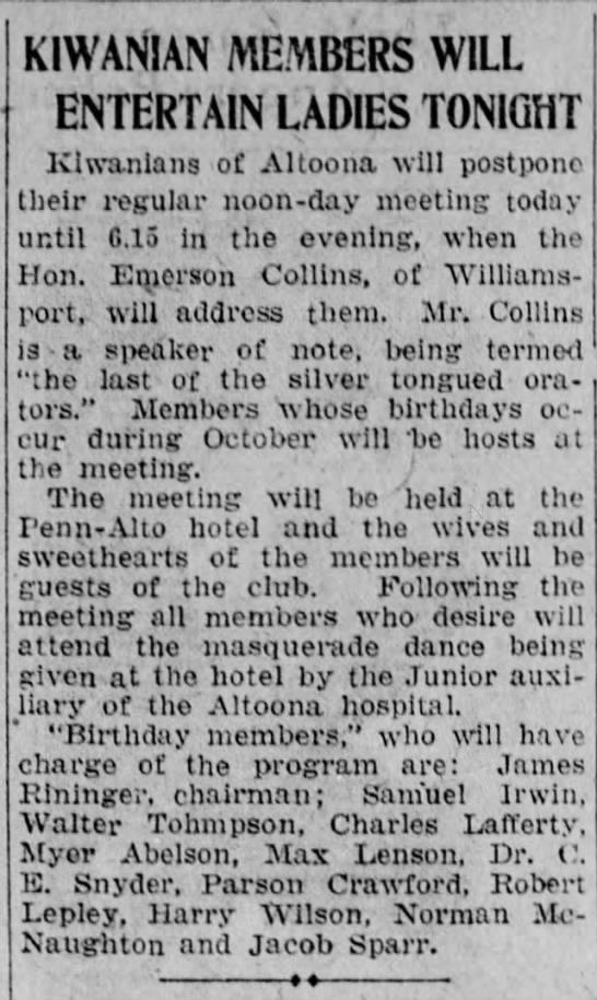 Max is Kiwanis host-28 October 1925 -
