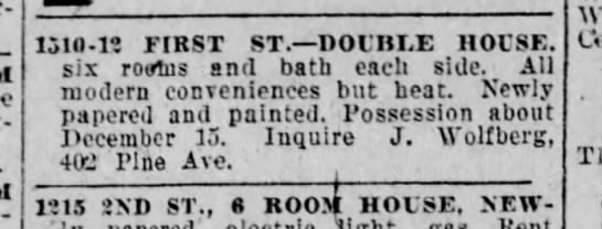 Double house for sale/rent-2 December 1925 -