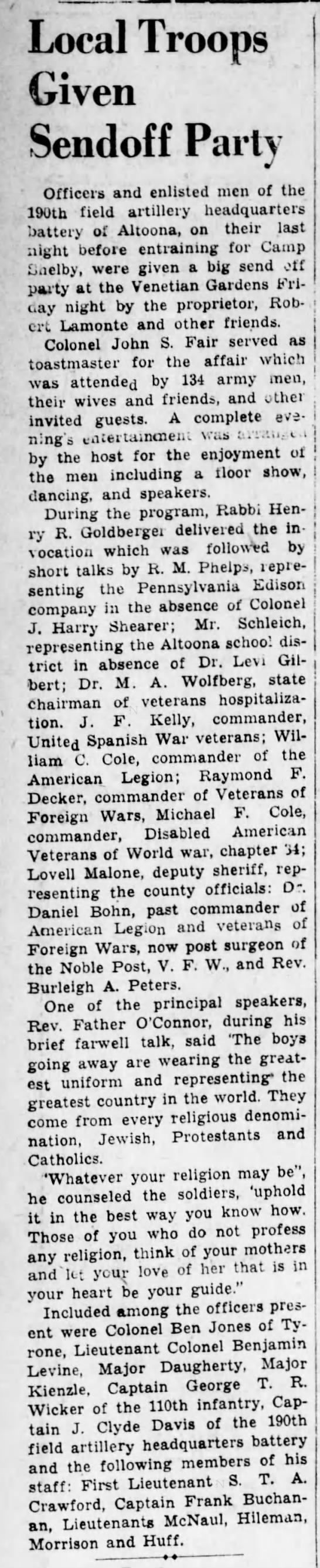 M.A. is state chairman of veterans hospitalization-3 Feb 1941 -