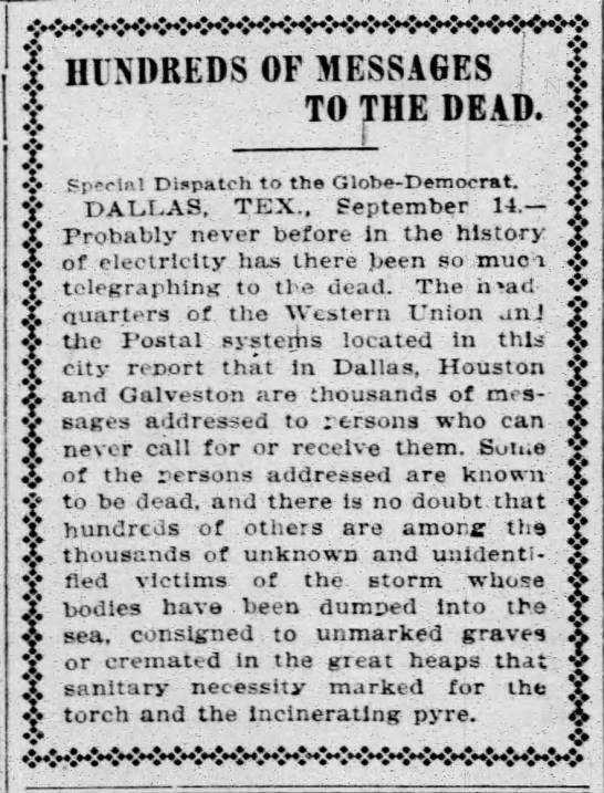 Hundreds of telegrams sent to those who perished in Galveston hurricane -