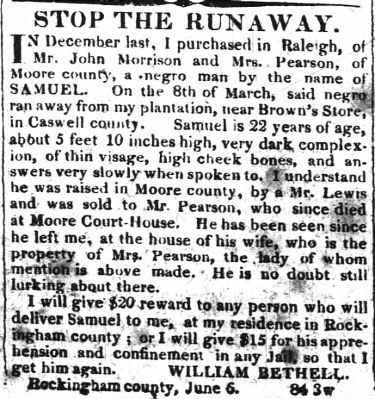 William Bethell and runaway slave -