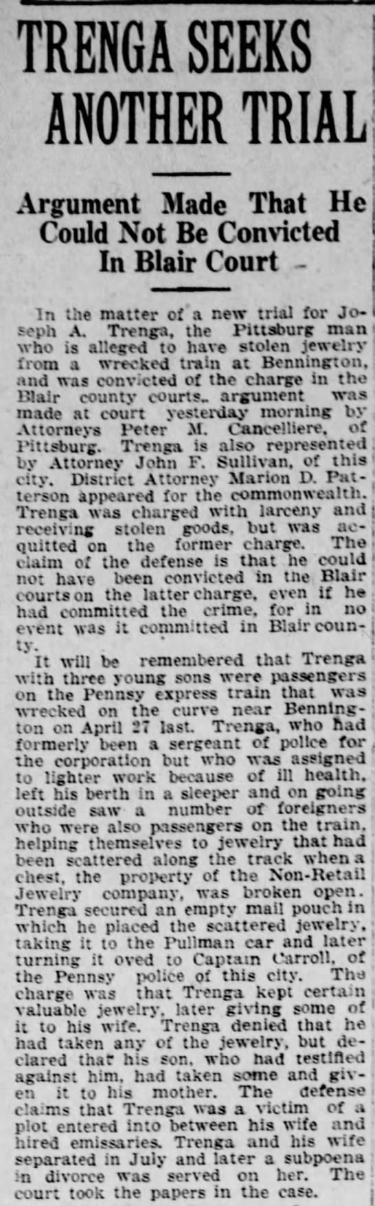 Altoona Tribune 9 May 1922 Trenga seeks new Trial -