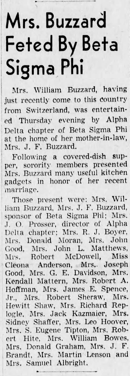 Bettie at Beta Sigma Phi meeting-17 February 1948 -