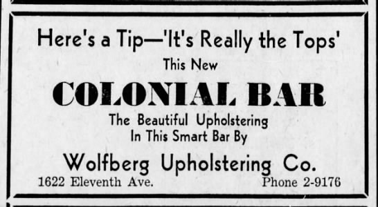 Bar ad is ad for Wolfberg Upholstering-24 July 1936 -