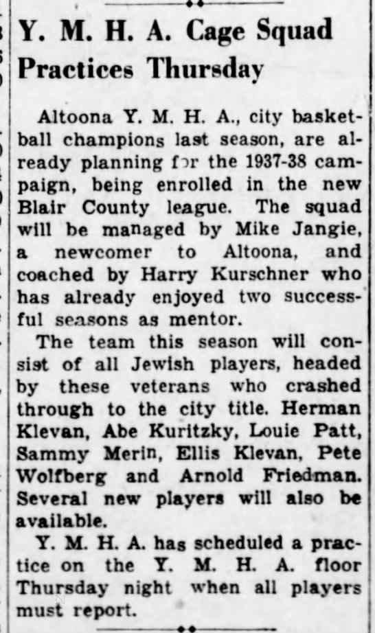 Pete and Klevans on YMHA basketball team-19 Oct 1937 -