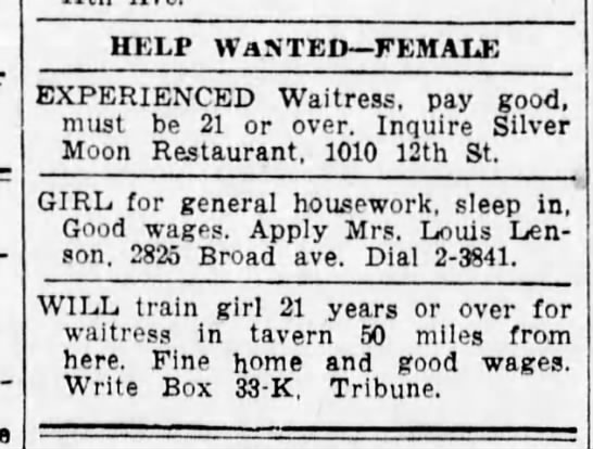 Sonia advertises for live in houseworker- 13 June 1942 -