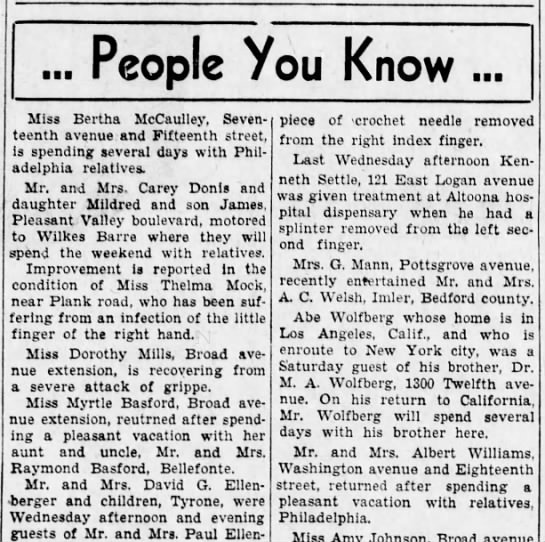 M.A. hosts brother Abe from CA-8 Nov 1935 -