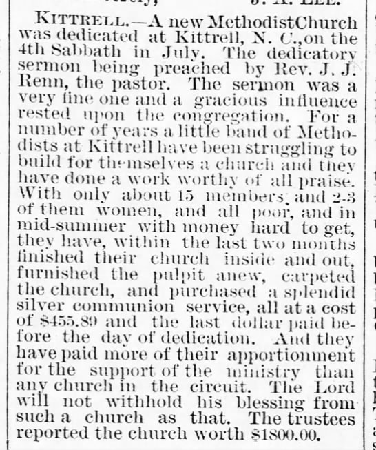 New Methodist Church in Kittrell 1888 -
