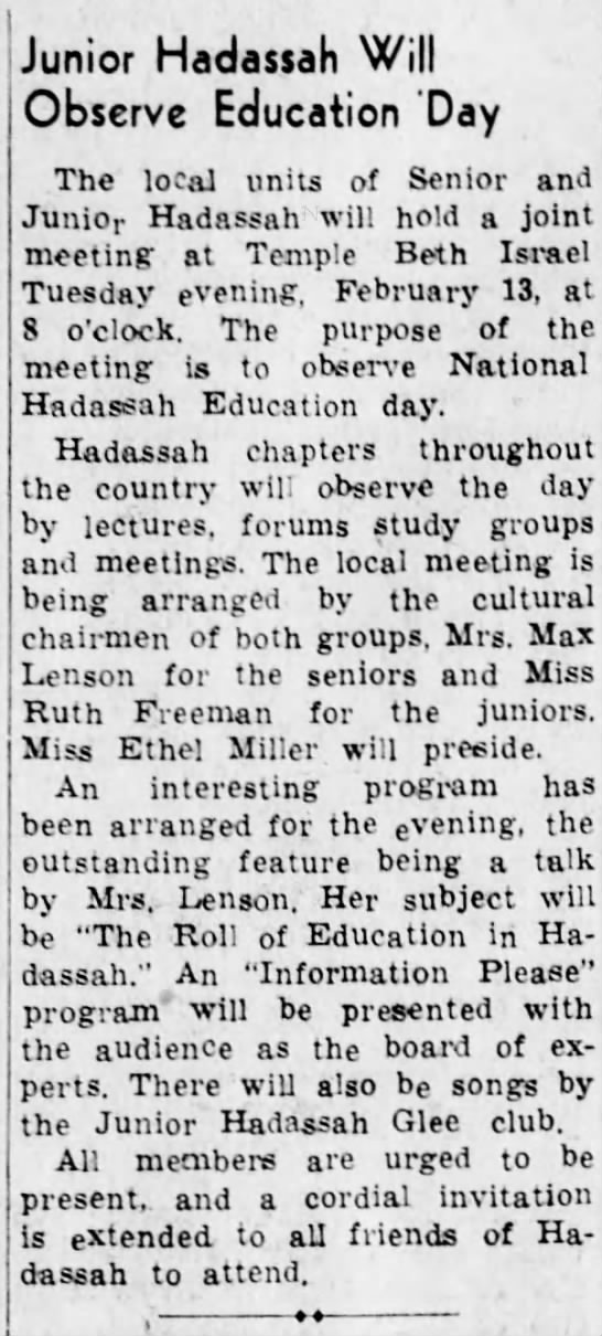 Hilda giving a talk on role of education in Hadassah- 12 February 1940 -