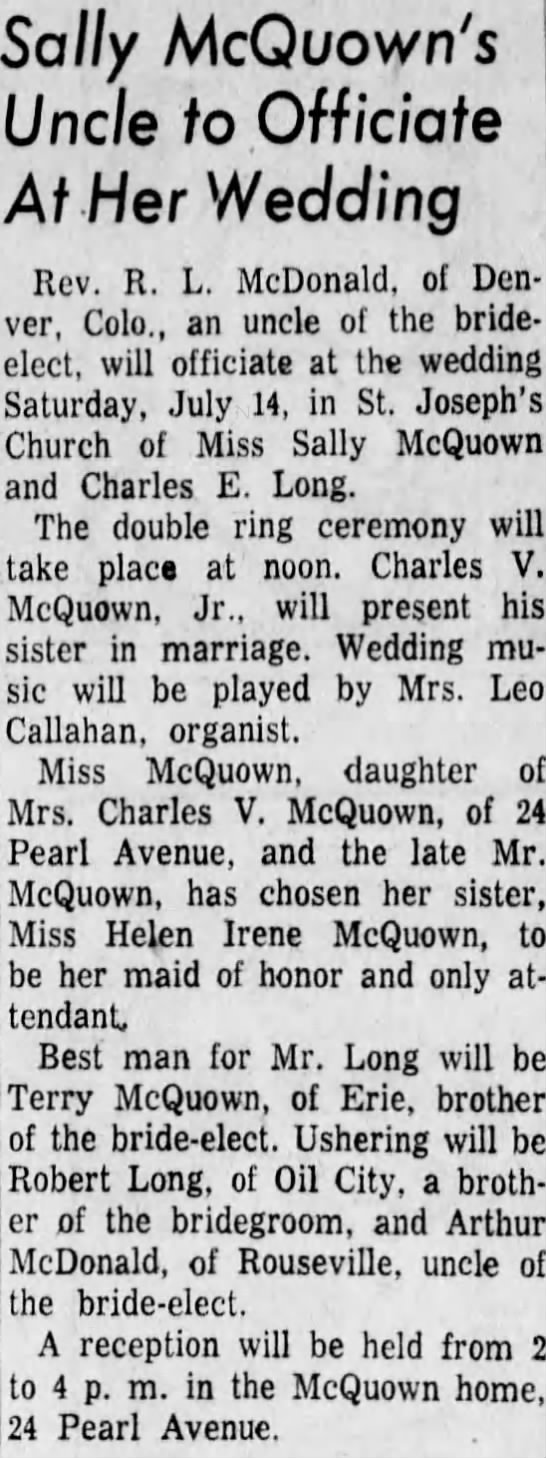 Charles and Sally McQuown Long wedding news - Sally McQuown's Uncle to, Officiate At Her...