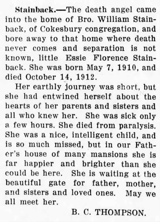 Essie Florence Stainback (14 Nov 1912, North Carolina Christian Advocate, Greensboro, NC) -