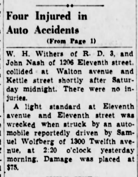 Samuel Wolfberg in accident-5 June 1939 -