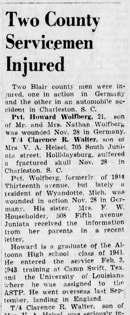 Howard Wolfberg injured-Nathan's son-19 Dec 1944 -