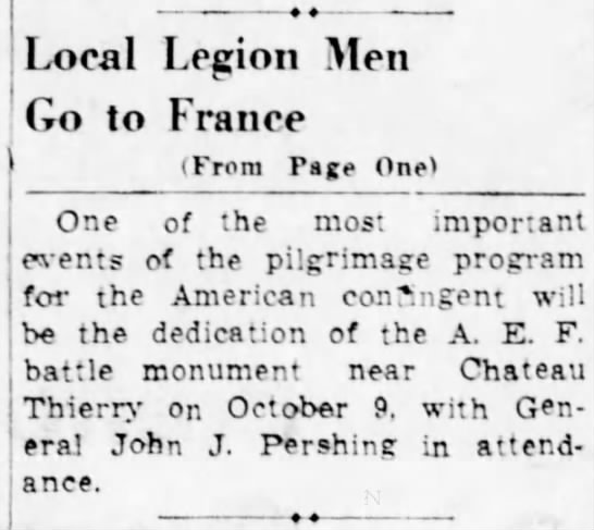 Part 2-M.A. goes to France with American Legion-23 Sept 1937 -