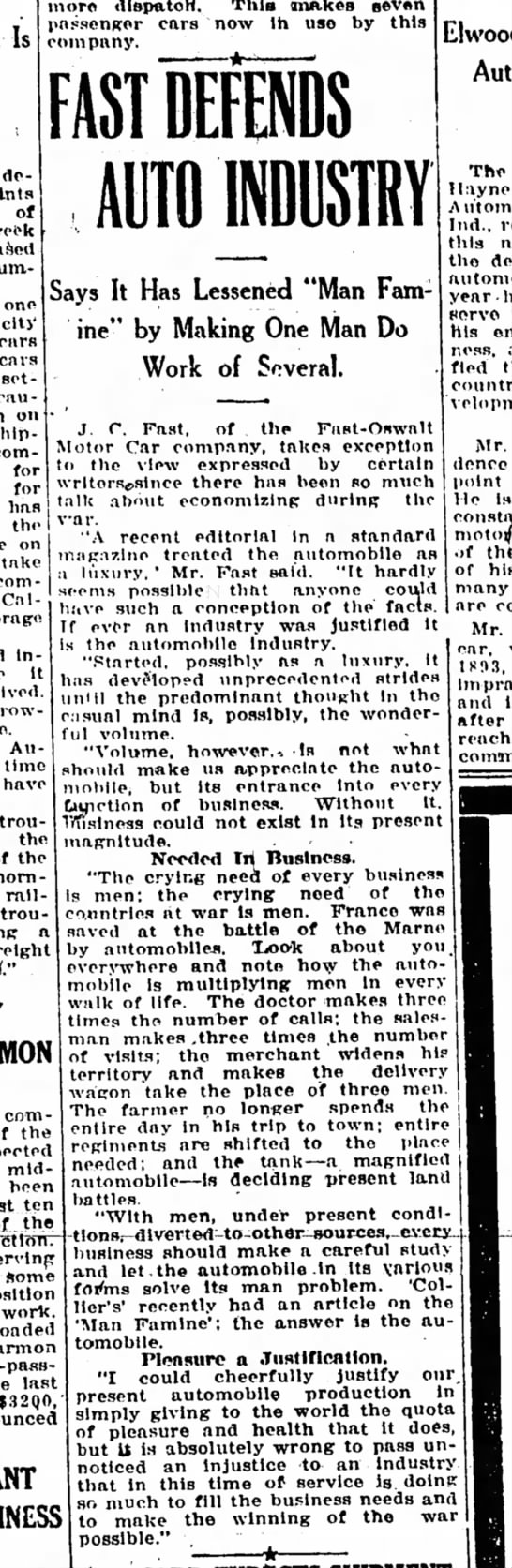 J.C. Fast defends auto industry 22 Sept 1917 -