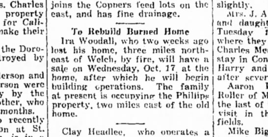 Rebuild Woodall burned home. Oct. 1928 -