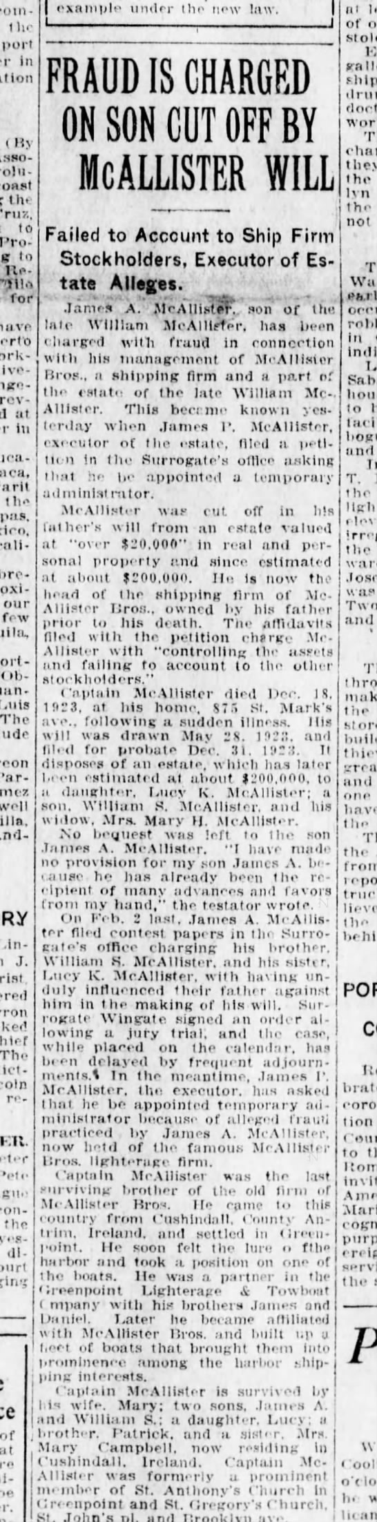 Son of William McAllister claims fraud 12 Feb 1924  PRINTED -