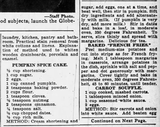 "1935 recipe for ""pumpkin spice"" cake -"