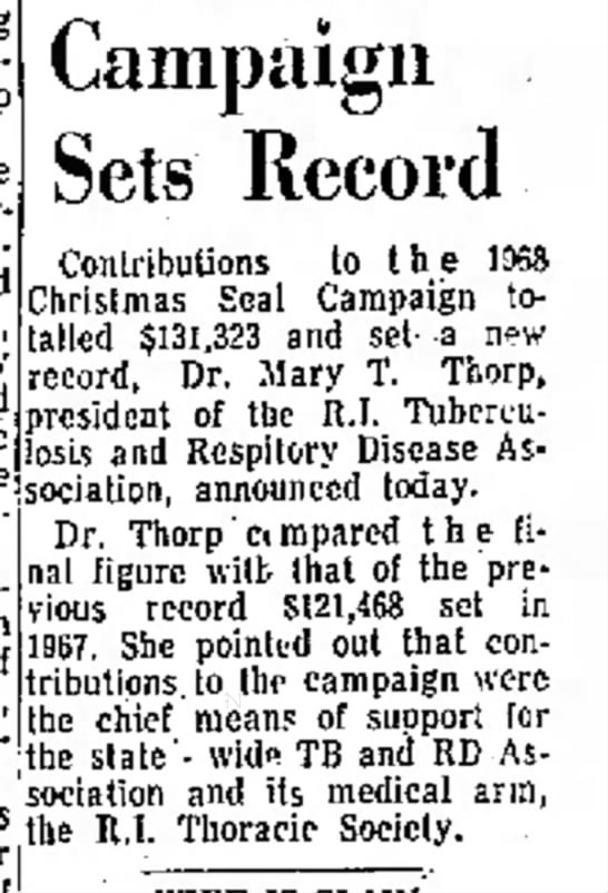 Campaign Sets Record, Newport Daily News (Newport, Rhode Island) 2 May 1969, p 3 -