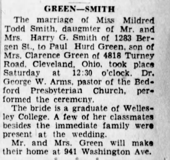 Mildred Todd Smith Marries Paul Green -