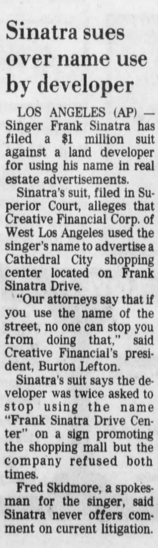 Sinatra sues for $ 1 million -